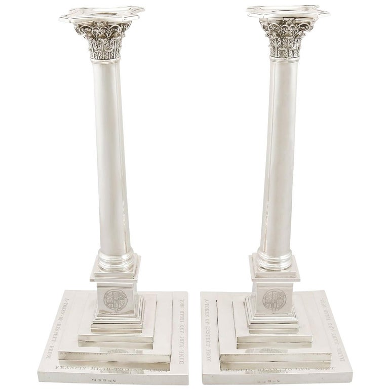 Sterling-silver column candlesticks, 1803, offered by AC Silver