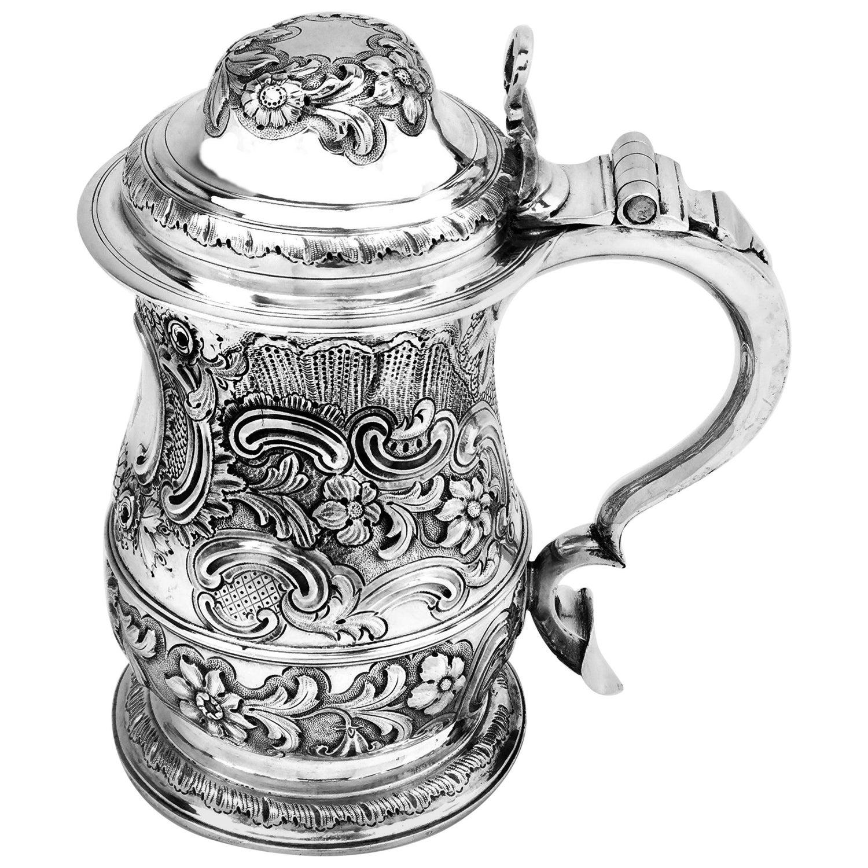 Antique Georgian Sterling Silver Lidded Tankard / Beer Mug, 1763