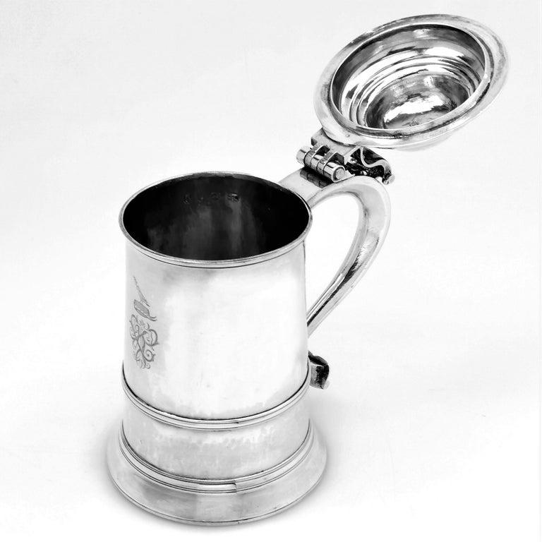 English Antique Georgian Sterling Silver Lidded Tankard / Beer Mug 1771 For Sale