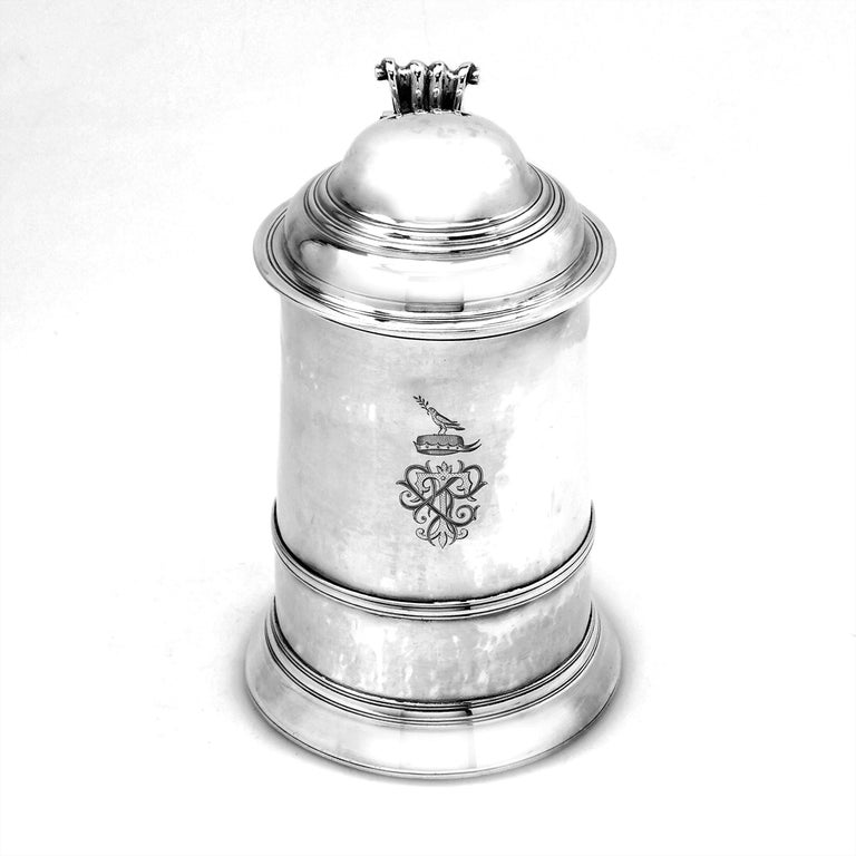 18th Century and Earlier Antique Georgian Sterling Silver Lidded Tankard / Beer Mug 1771 For Sale