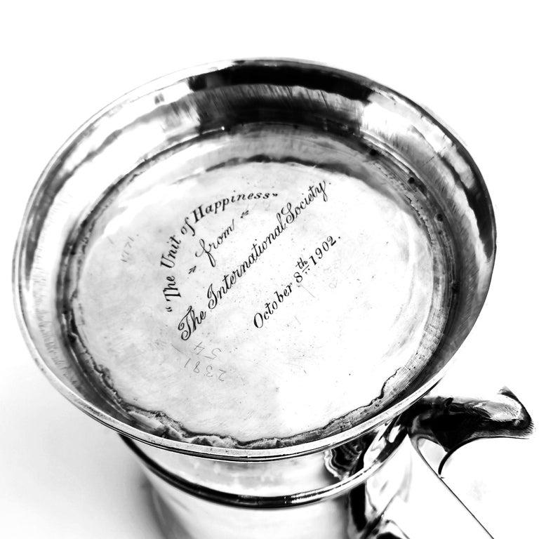 Antique Georgian Sterling Silver Lidded Tankard / Beer Mug 1771 For Sale 2