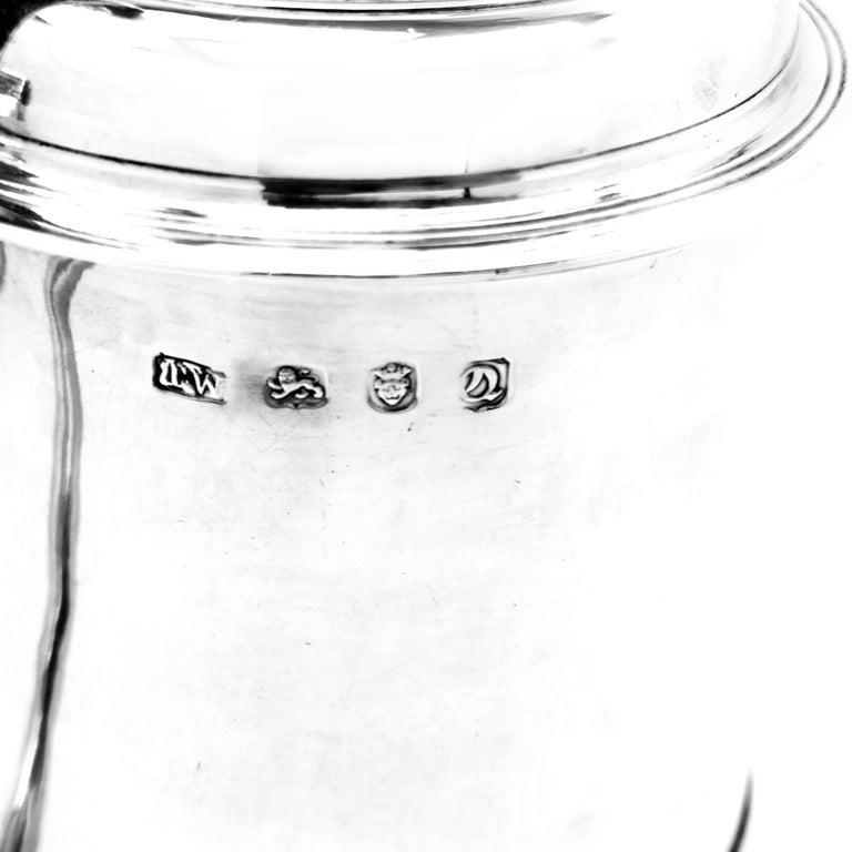 Antique Georgian Sterling Silver Lidded Tankard / Beer Mug 1771 For Sale 3