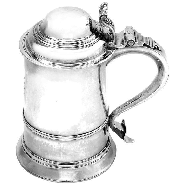 Antique Georgian Sterling Silver Lidded Tankard / Beer Mug 1771 For Sale