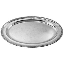 Antique Georgian Sterling Silver Oval Meat Dish Serving Platter Tray, 1806