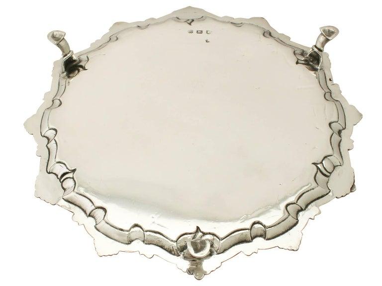 Antique Georgian Sterling Silver Salver For Sale 2