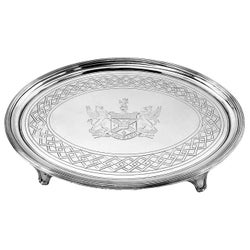 Antique Georgian Sterling Silver Salver Oval Tray Platter, 1802
