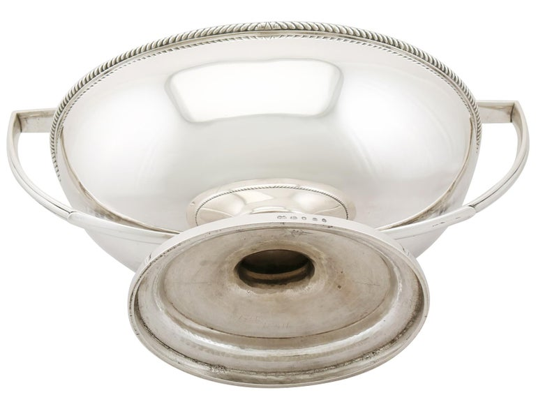 Antique Georgian Sterling Silver Soup Tureen Dish by Paul Storr For Sale 5