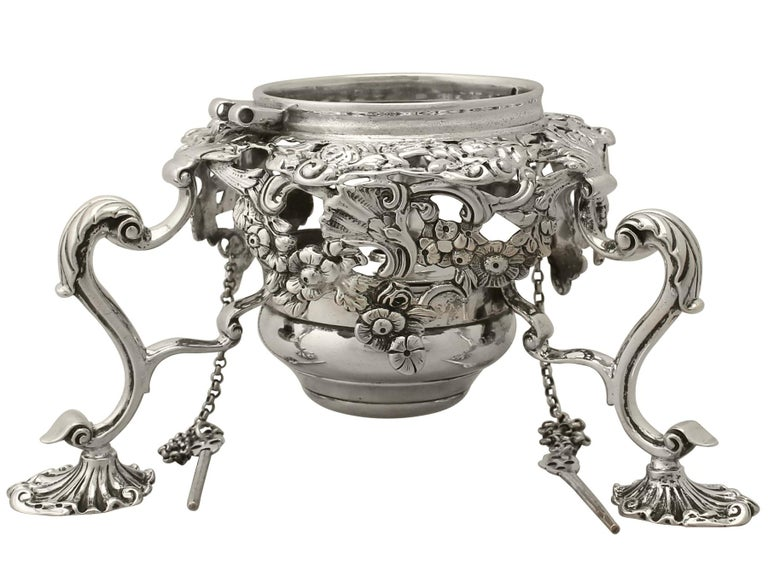 Antique Georgian Sterling Silver Spirit Kettle by William Grundy 1