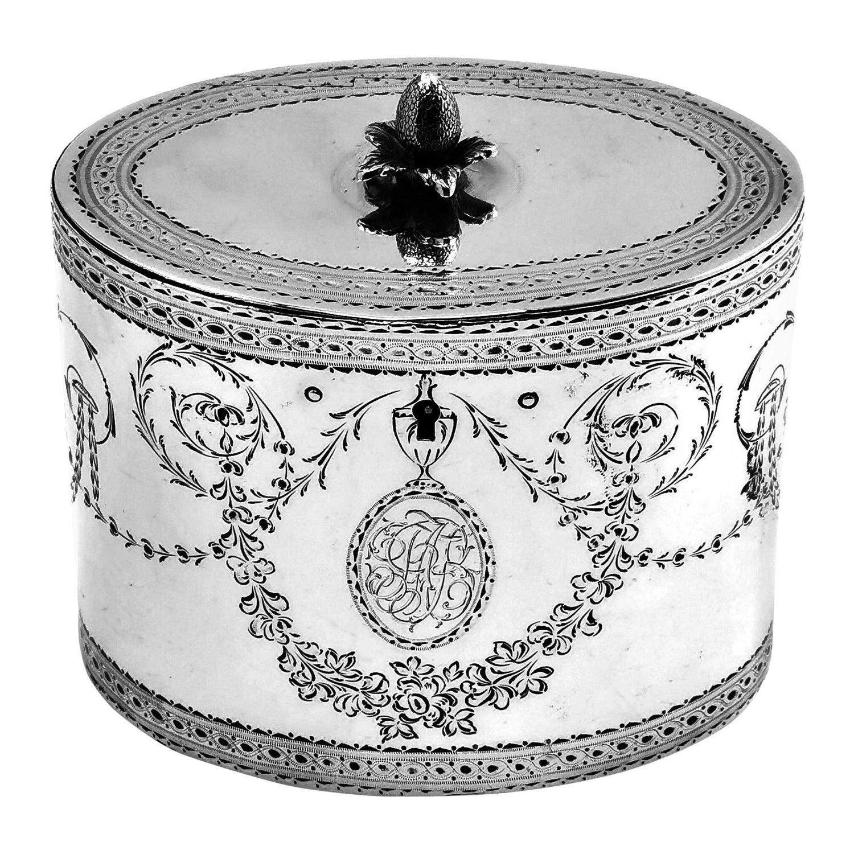 Antique Georgian Sterling Silver Tea Caddy Box 1780 London, England