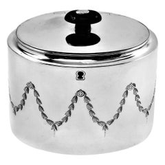 Antique Georgian Sterling Silver Tea Caddy Box, 1800, London, England