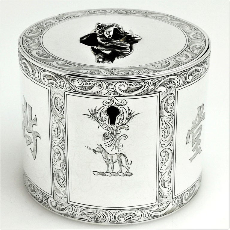 English Antique Georgian Sterling Silver Tea Caddy Box Chinoiserie Chinese 1771 For Sale