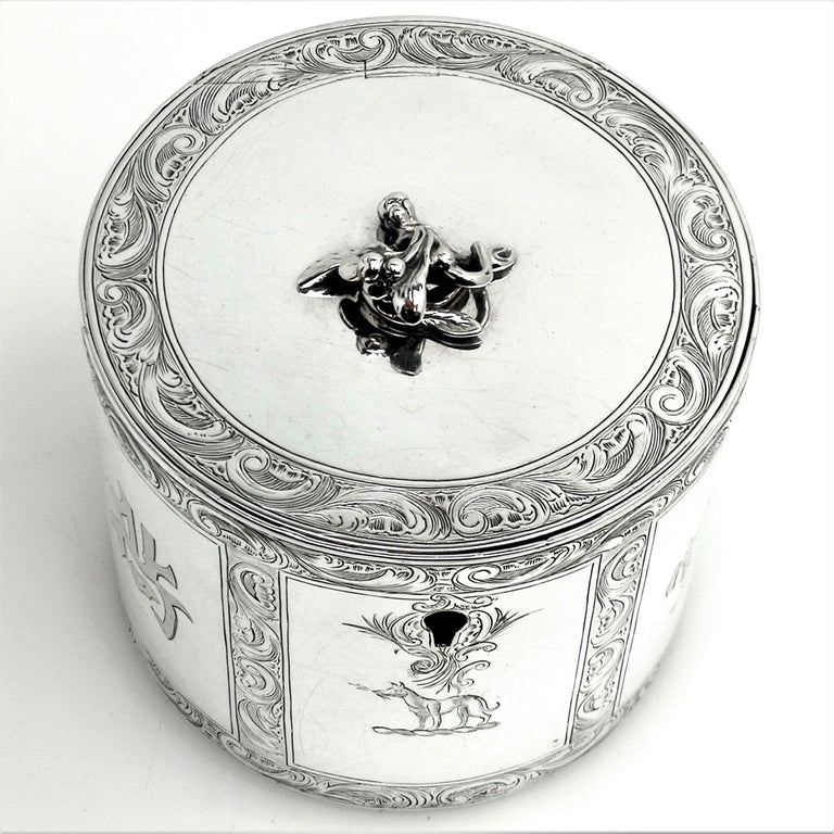 Antique Georgian Sterling Silver Tea Caddy Box Chinoiserie Chinese 1771 For Sale 2