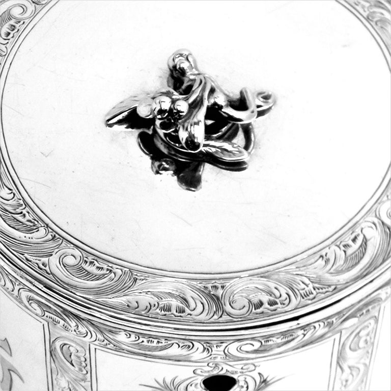 Antique Georgian Sterling Silver Tea Caddy Box Chinoiserie Chinese 1771 For Sale 3