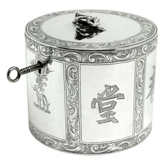 Antique Georgian Sterling Silver Tea Caddy Box Chinoiserie Chinese 1771