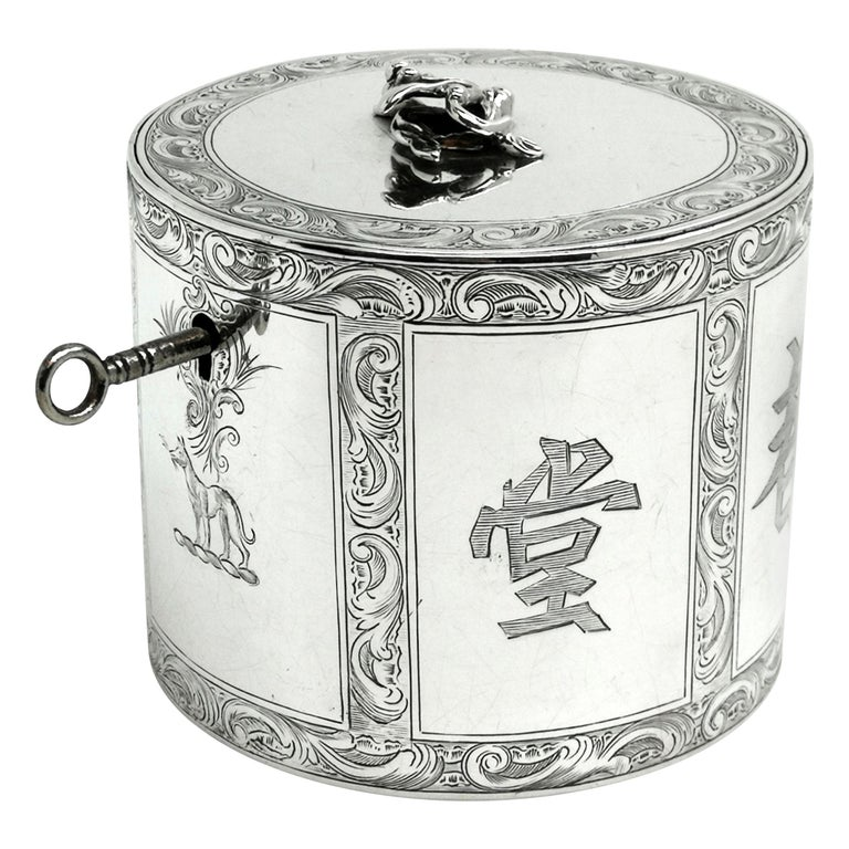 Antique Georgian Sterling Silver Tea Caddy Box Chinoiserie Chinese 1771 For Sale