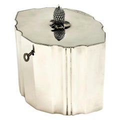 Antique Georgian Sterling Silver Tea Caddy Box with Key 1798 Bateman