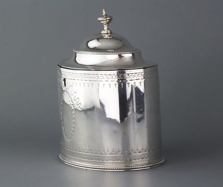 Antique Georgian sterling silver tea caddy George III Period Maker: Hester Bateman Made in London 1784 Fully hallmarked.  Dimensions -  Size: 13.4 x 8.75 x 13.8 cm Weight: 294 grams  Please note: Key not included  Condition: Tea caddy