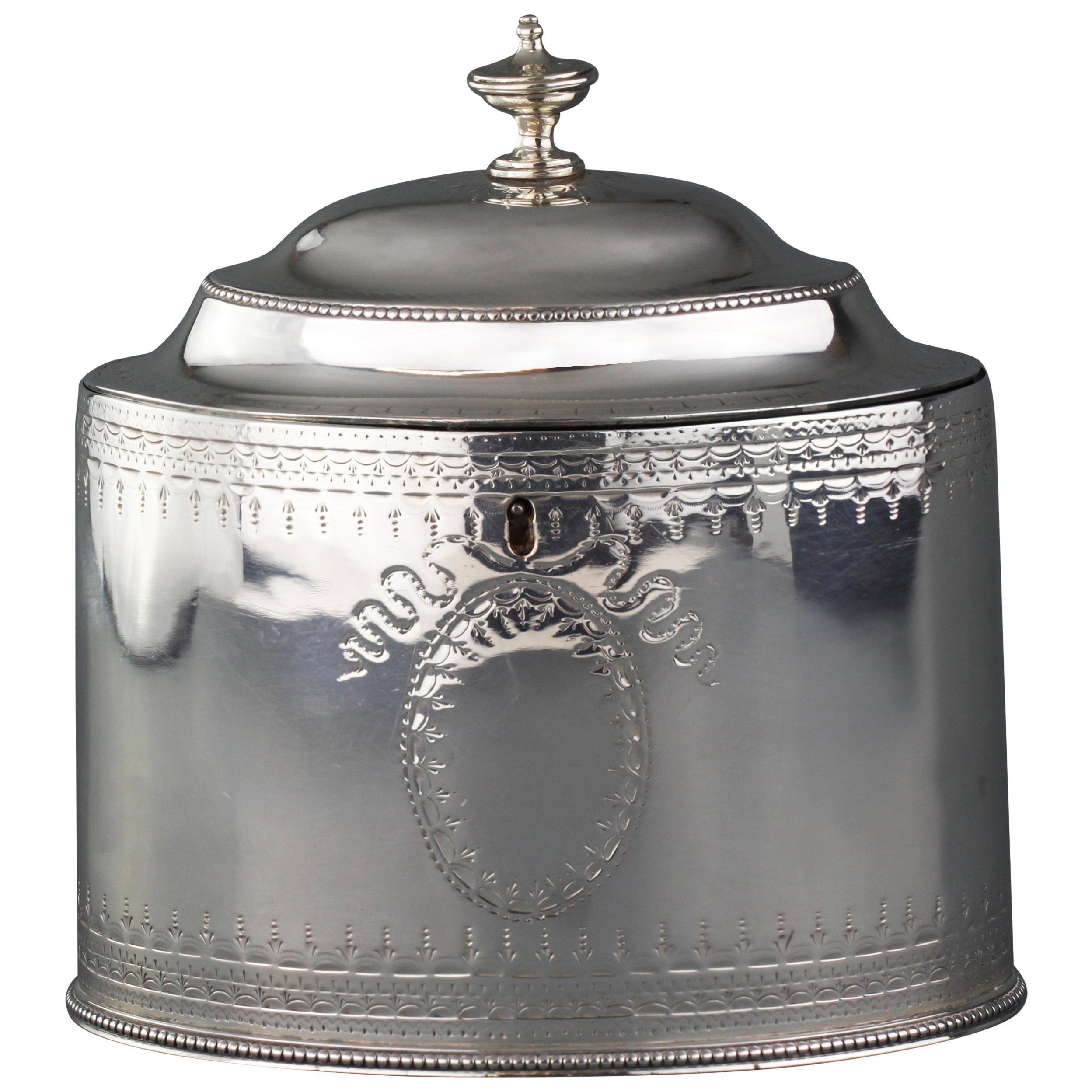 Antique Georgian Sterling Silver Tea Caddy, Hester Bateman, London, 1784