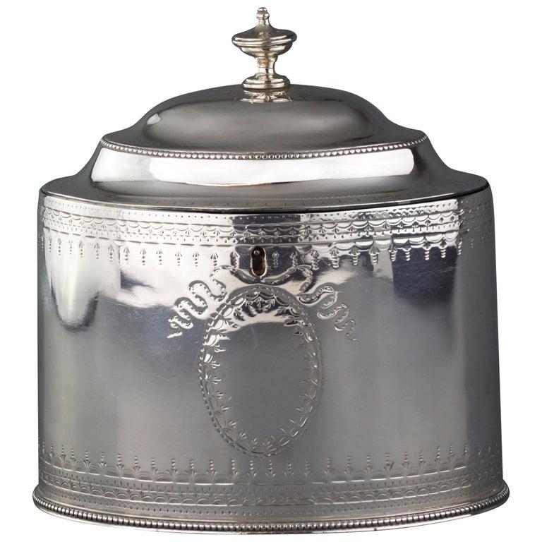 Antique Georgian Sterling Silver Tea Caddy, Hester Bateman, London, 1784 For Sale