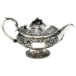 Antique Georgian Sterling Silver Teapot 1824 George IV Tea Pot