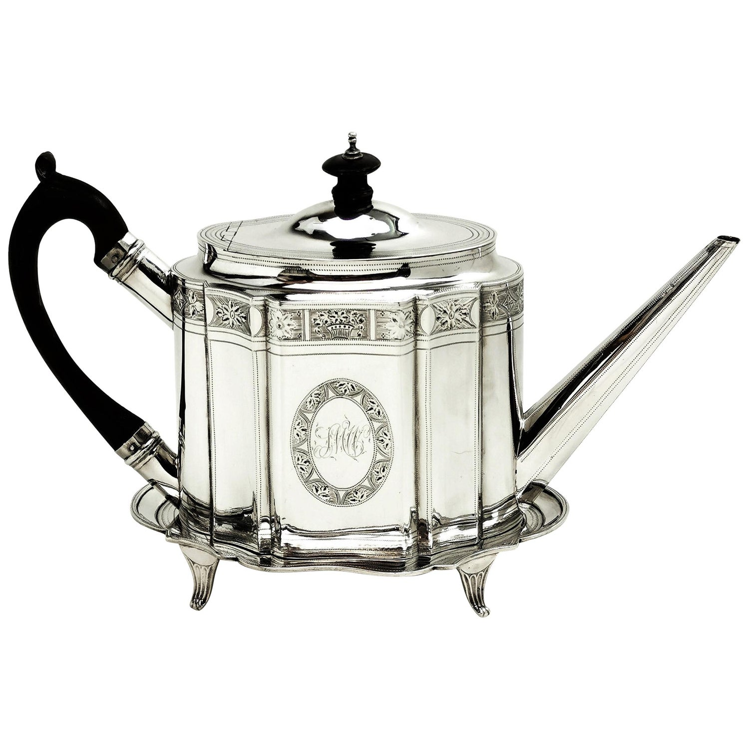 Antique Georgian Sterling Silver Teapot on Stand, 1795