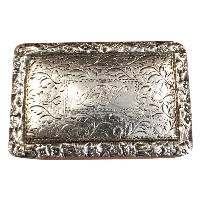 Antique Georgian Sterling Silver Viniagrette by Nathaniel Mills, 1827 For Sale