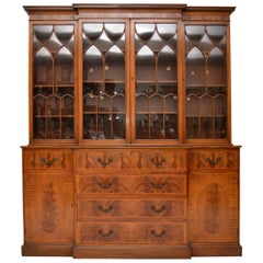 Antique Georgian Style Breakfront Mahogany Secretaire Bookcase