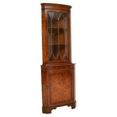 Antique Georgian Style Burr Walnut Corner Cabinet