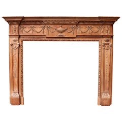 Antique Georgian Style Carved Pine Fire Surround