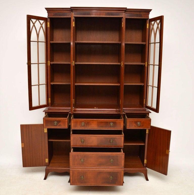 Antique Georgian Style Inlaid Mahogany Breakfront Bookcase