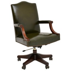 Antique Georgian Style Leather and Mahogany Swivel Desk Chair