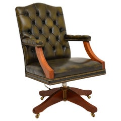 Antique Georgian Style Leather & Mahogany Desk Chair