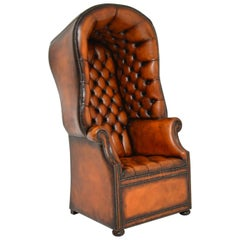 Antique Georgian Style Leather Porters Armchair