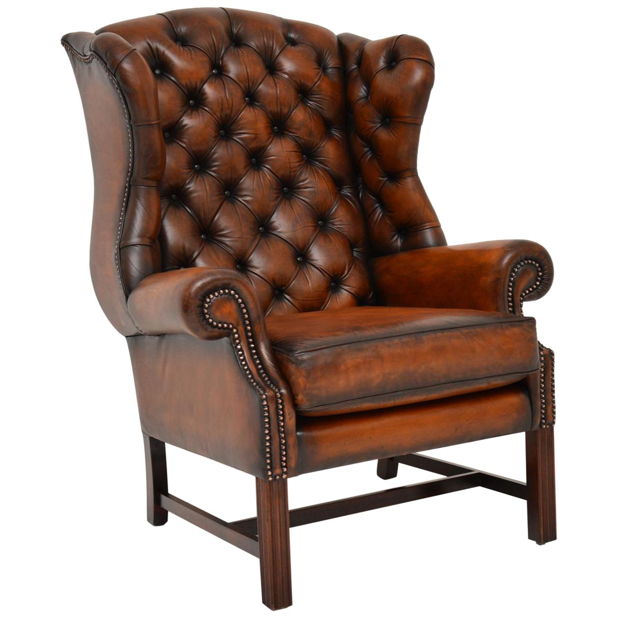 Antique Georgian Style Leather Wingback Armchair