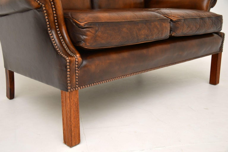 Antique Georgian Style Leather Wing Back Sofa For Sale 4