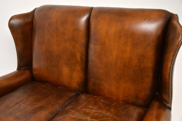 Antique Georgian Style Leather Wing Back Sofa For Sale 5
