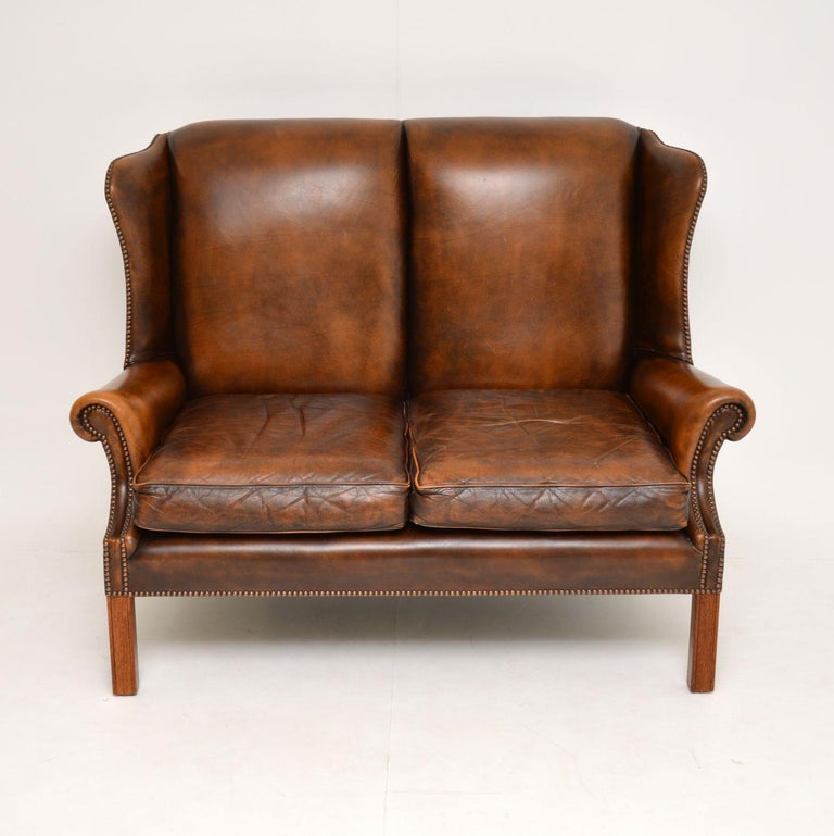 English Antique Georgian Style Leather Wing Back Sofa For Sale
