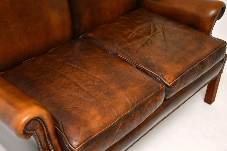 Mid-20th Century Antique Georgian Style Leather Wing Back Sofa For Sale