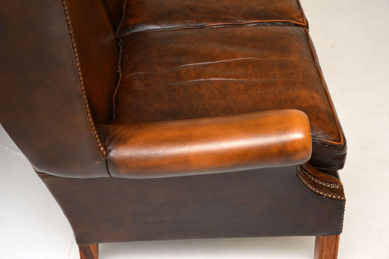 Antique Georgian Style Leather Wing Back Sofa For Sale 1