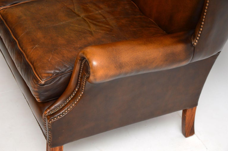 Antique Georgian Style Leather Wing Back Sofa For Sale 2