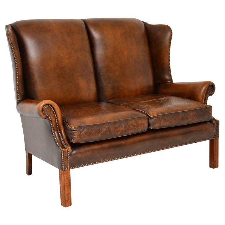 Antique Georgian Style Leather Wing Back Sofa For Sale