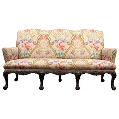 Antique Georgian Style Mahogany and Fabric Sofa