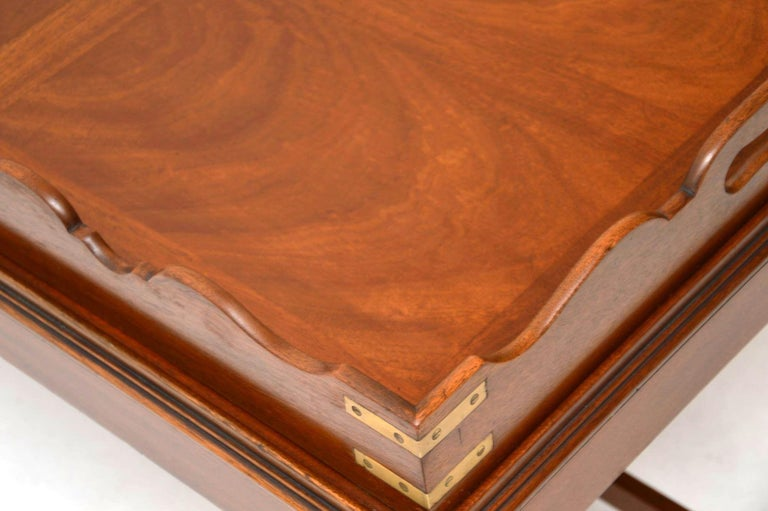 Antique Georgian Style Mahogany Tray Top Coffee Table For Sale 5