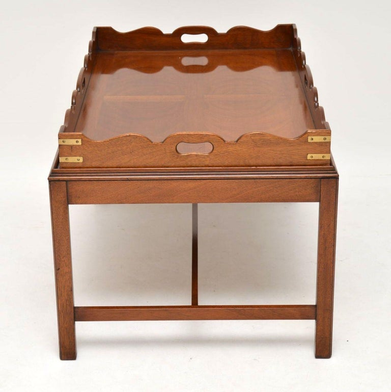 Antique Georgian Style Mahogany Tray Top Coffee Table For Sale 6