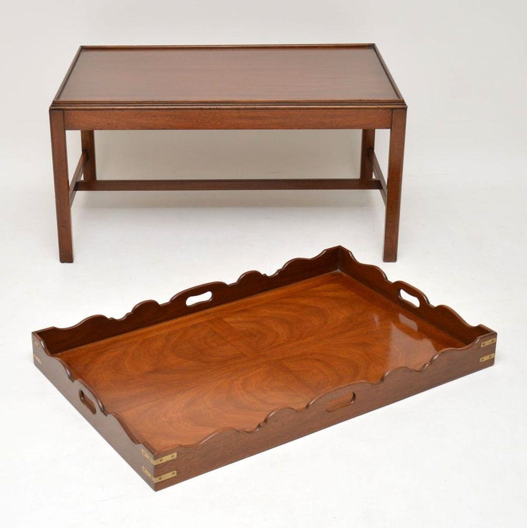 English Antique Georgian Style Mahogany Tray Top Coffee Table For Sale