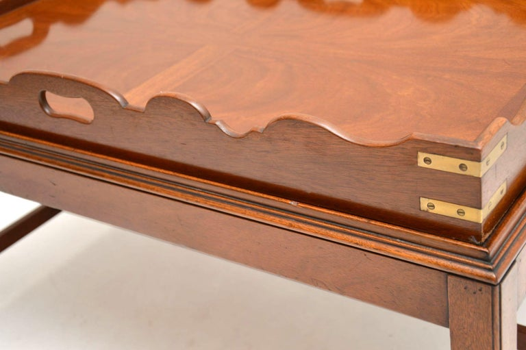 Antique Georgian Style Mahogany Tray Top Coffee Table For Sale 3