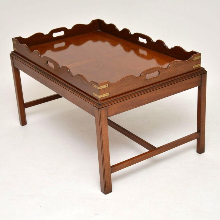 Antique Georgian Style Mahogany Tray Top Coffee Table For Sale 4