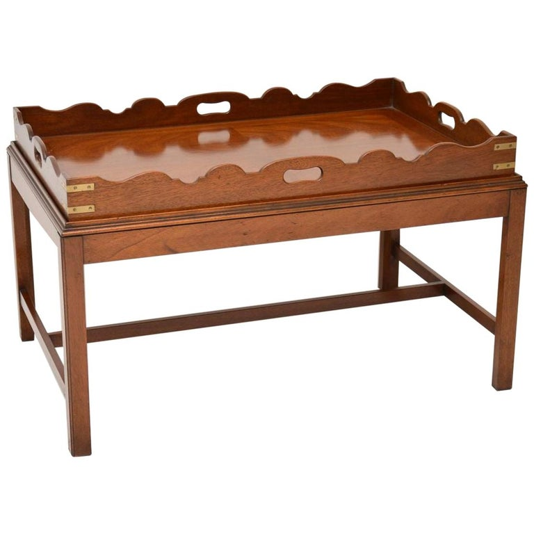 Antique Georgian Style Mahogany Tray Top Coffee Table For Sale