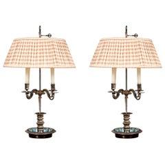 Antique Georgian Style Silvered Bronze Bouillotte Lamps