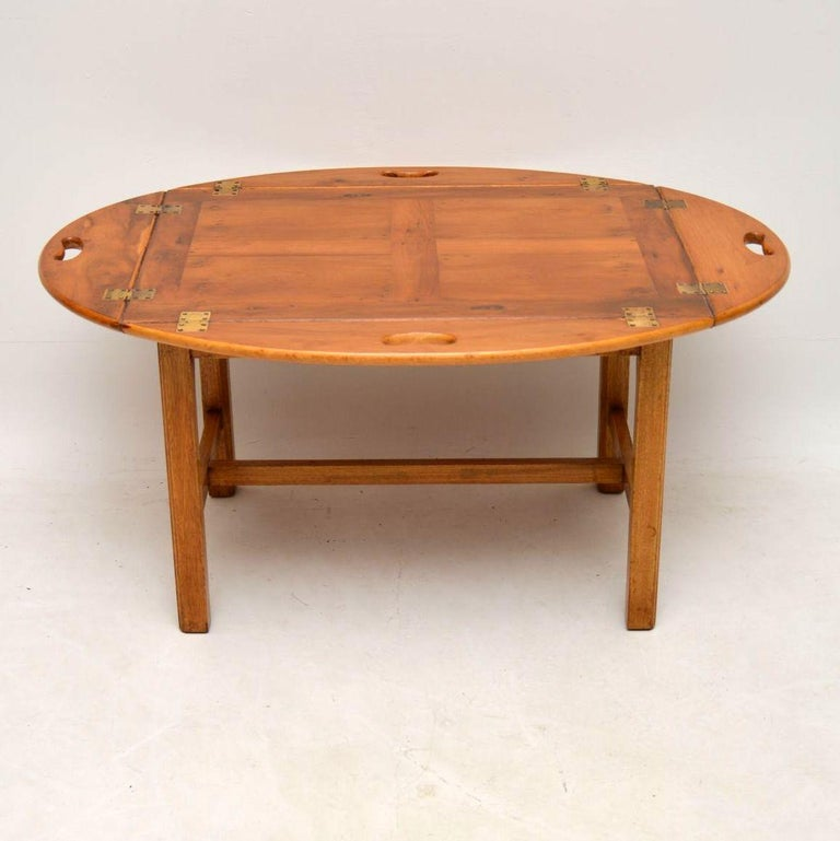 Tray Coffee Table Sale: Antique Georgian Style Yew Wood Butlers Tray Coffee Table